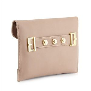 Studded Envelope Clutch, Nude w/Gold Hardware